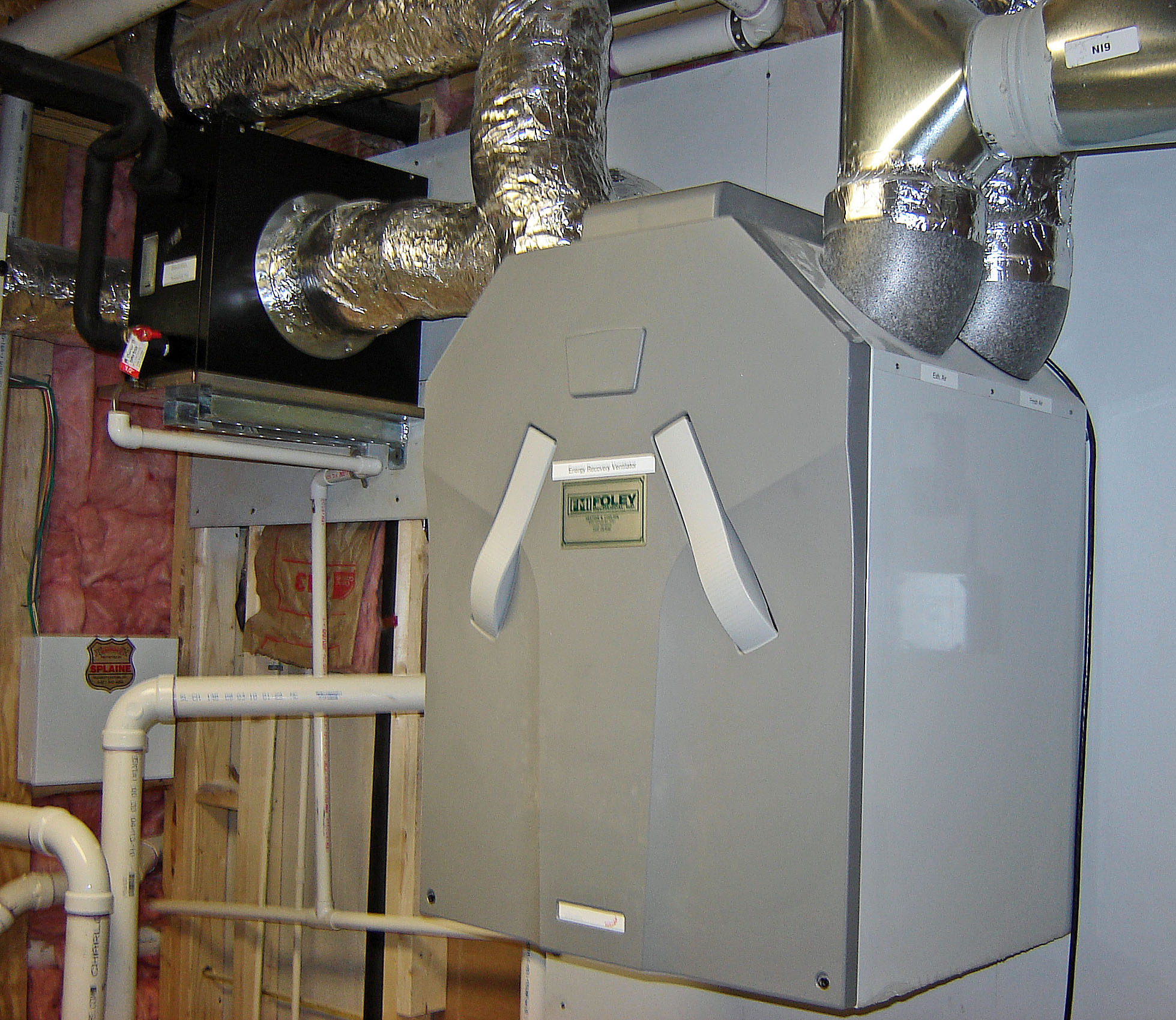 for basement and first flow to the left of the erv is a heat exchange
