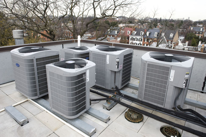 Air conditioning equipment on the roof at Wormley School.